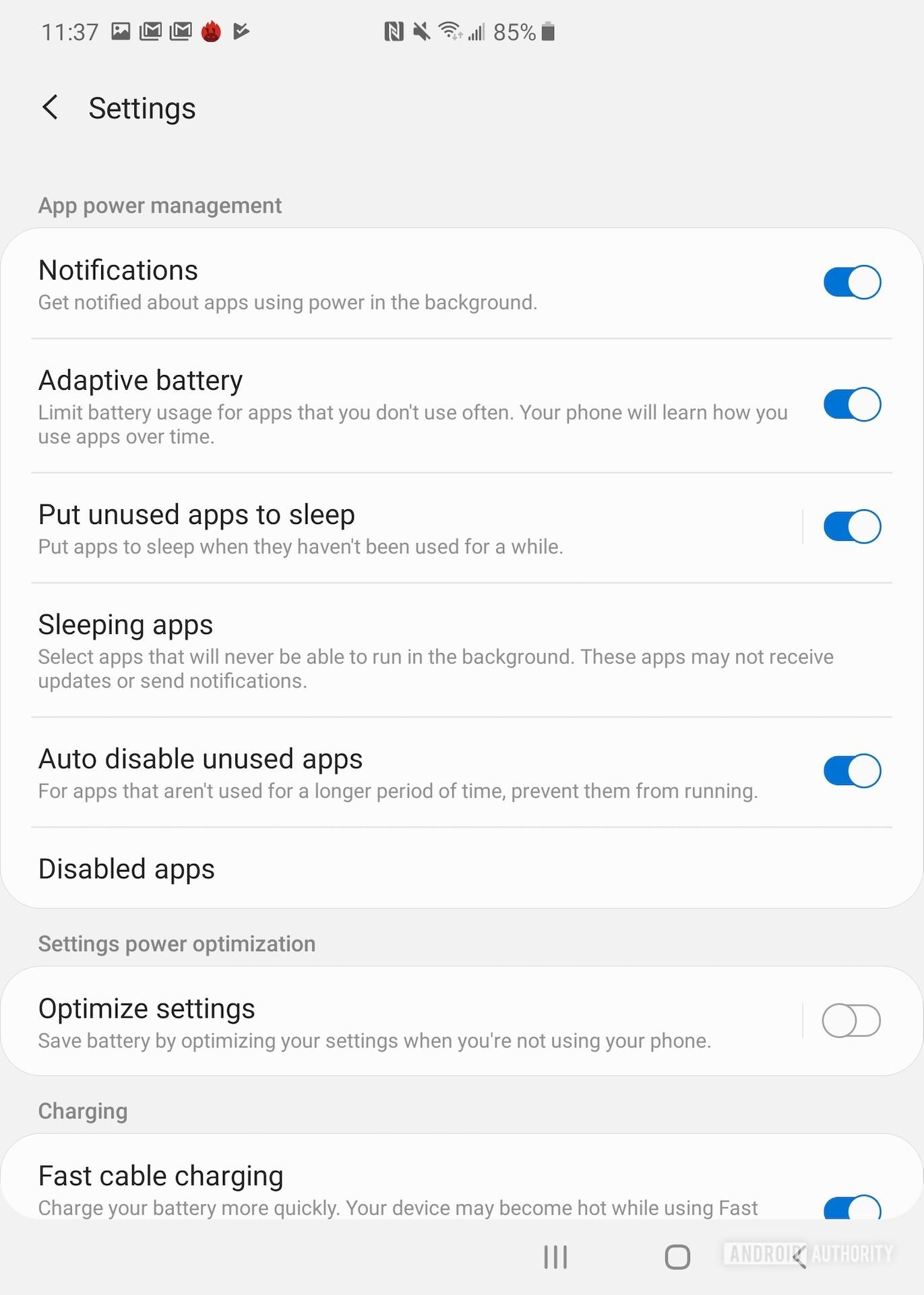 Samsung Galaxy Fold review battery settings