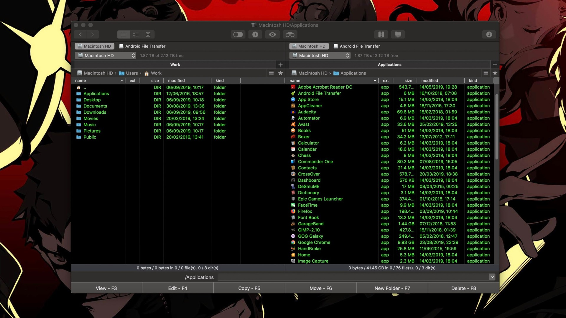 commander one dual pane - transfer files from Android to Mac