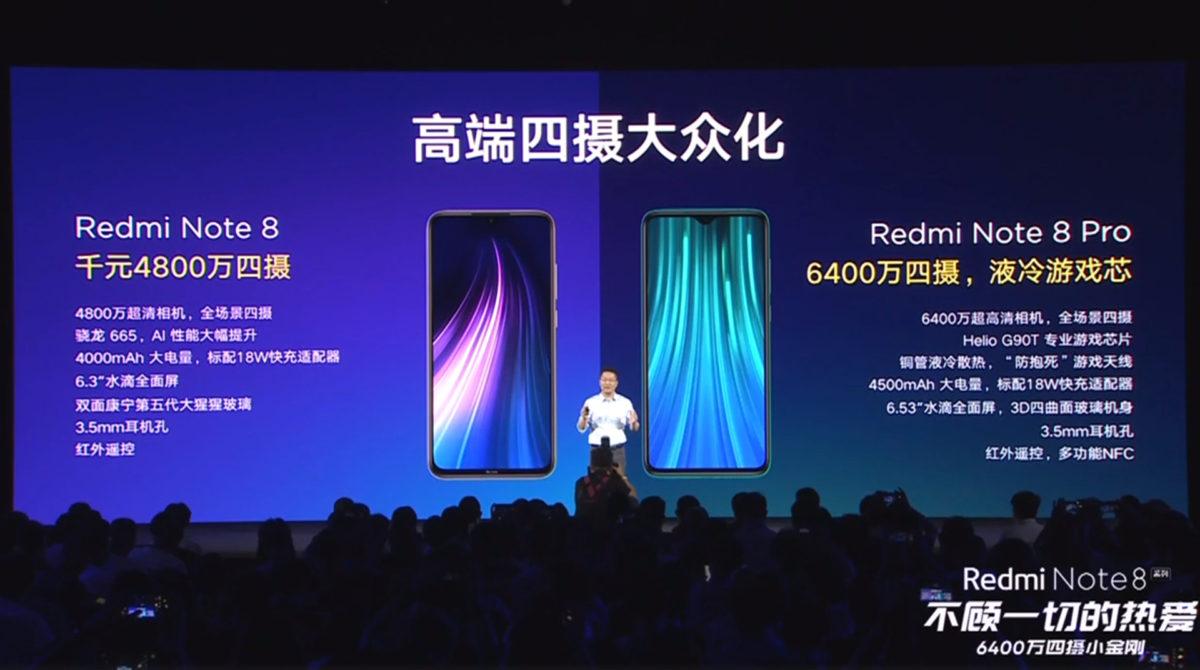 Xiaomi Redmi Note 8 series specs.