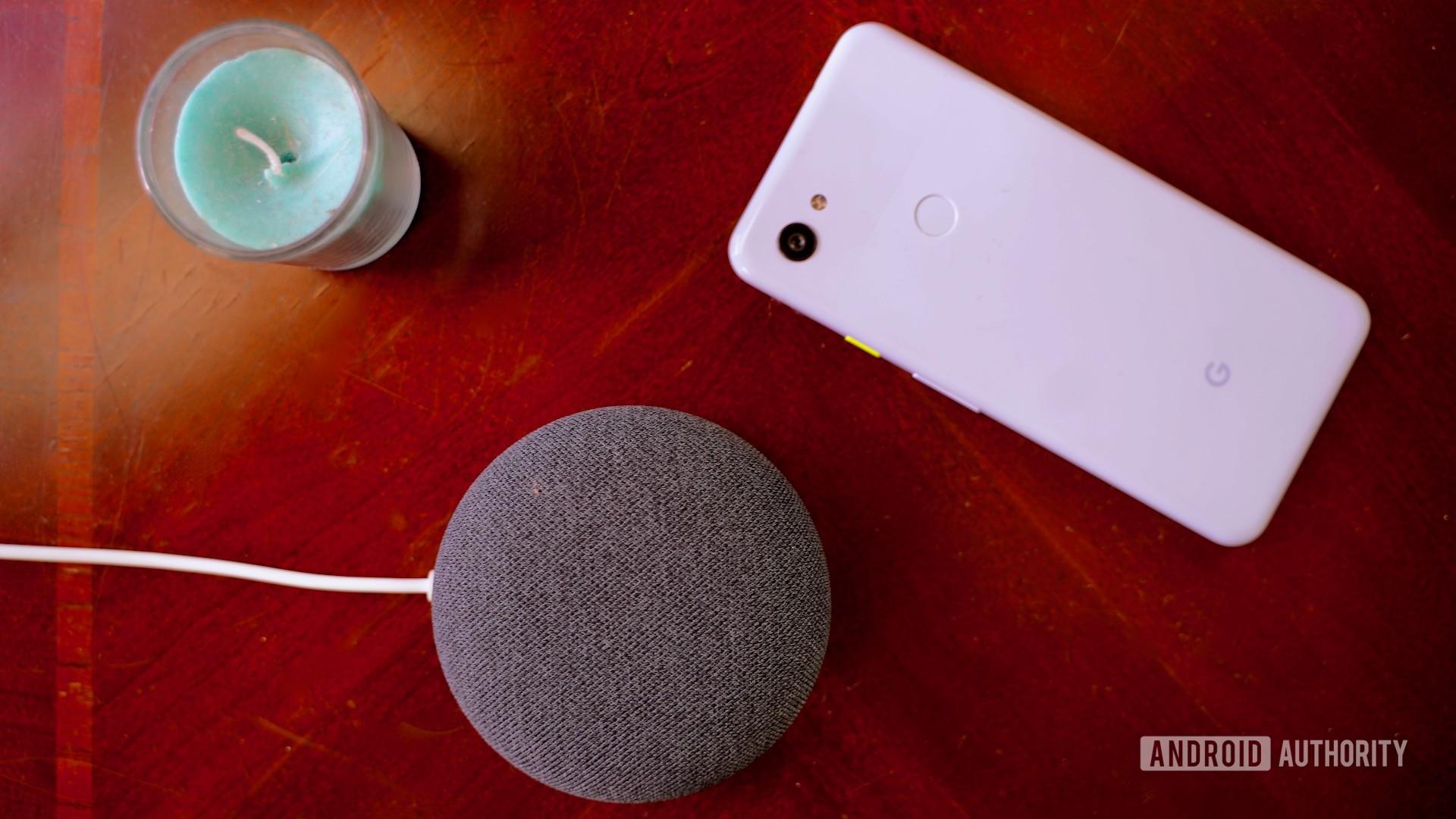 Google Nest Mini on end table