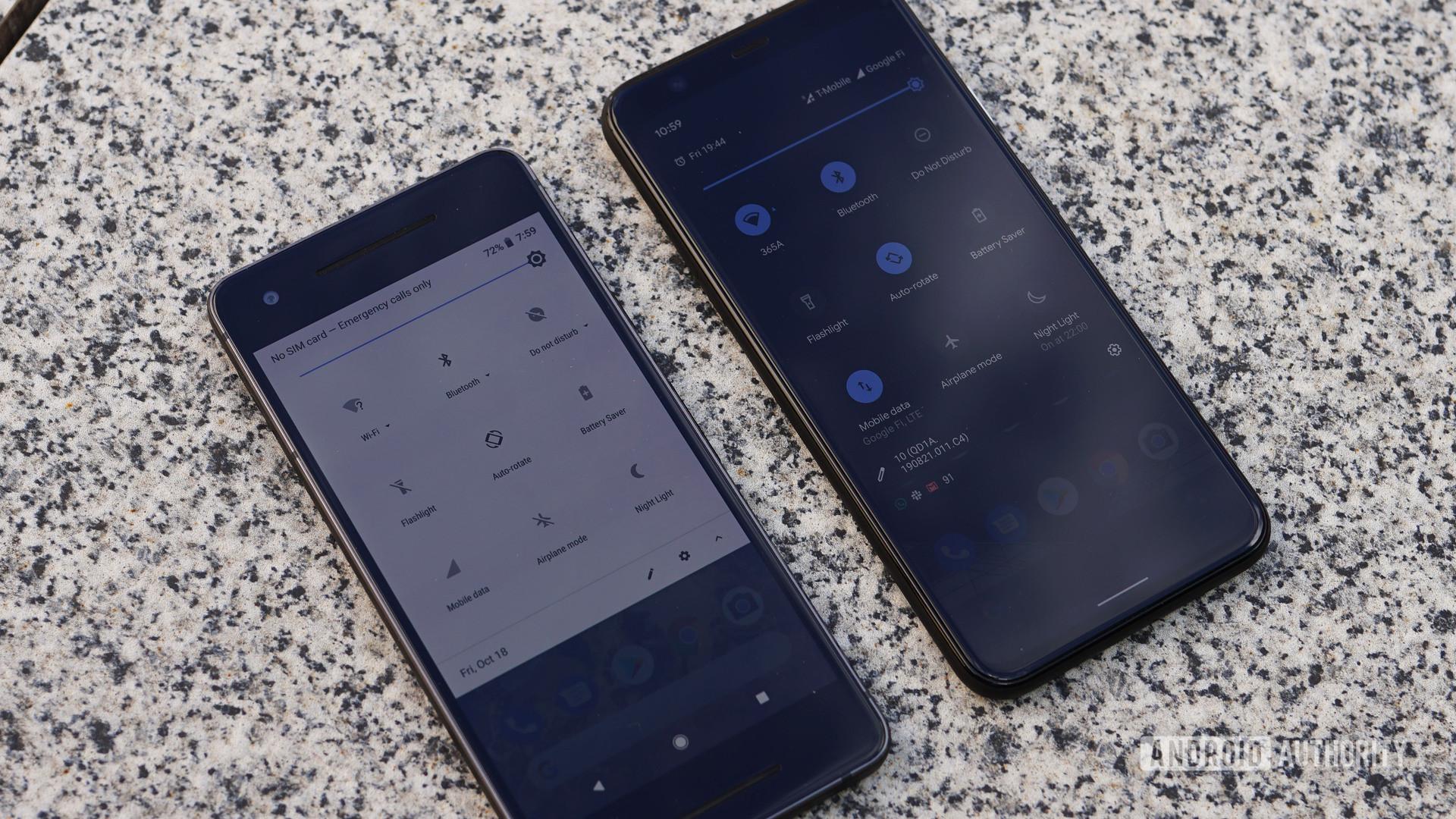 Google Pixel 2 vs Pixel 4 quick settings menu