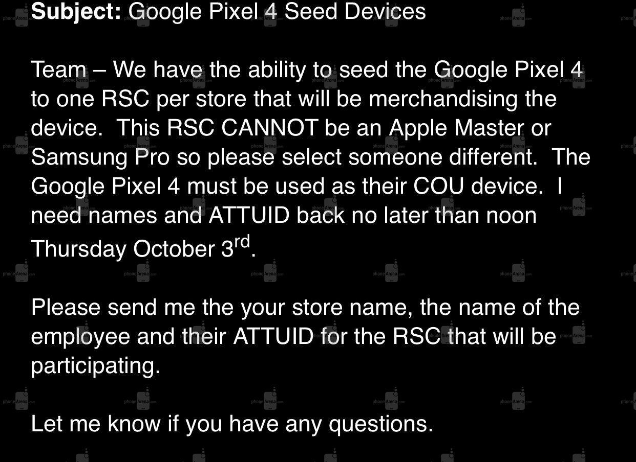 Google Pixel 4 Carriers ATT Leaked Memo