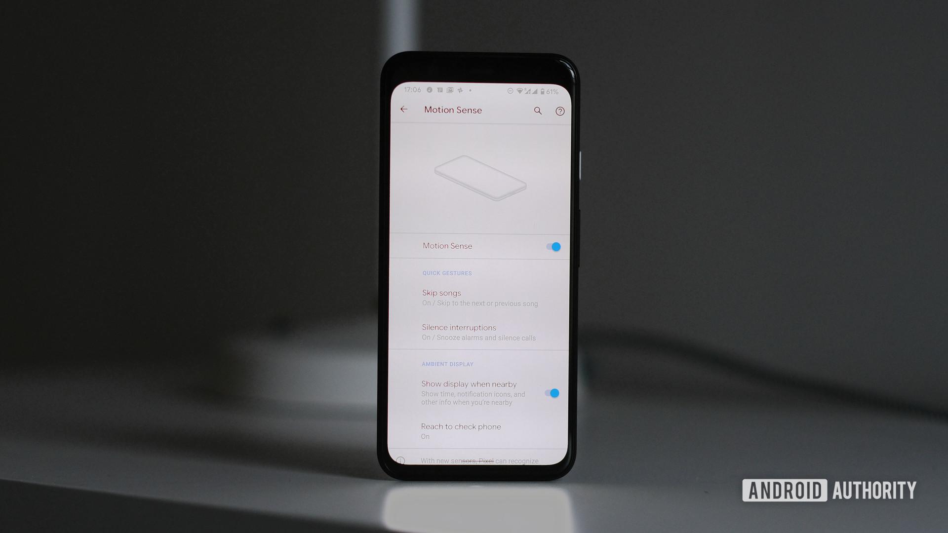 Google Pixel 4 Motion Sense menu for Soli radar