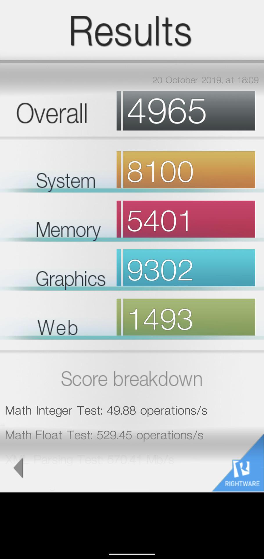 Google Pixel 4 XL Basemark benchmark results