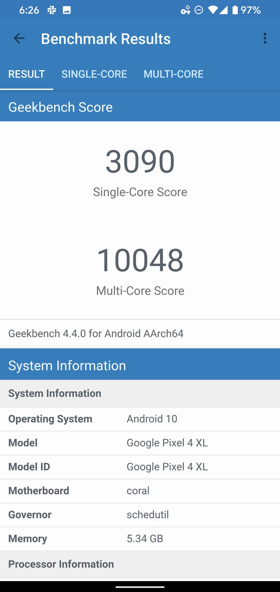 Google Pixel 4 XL Geekbench benchmark results