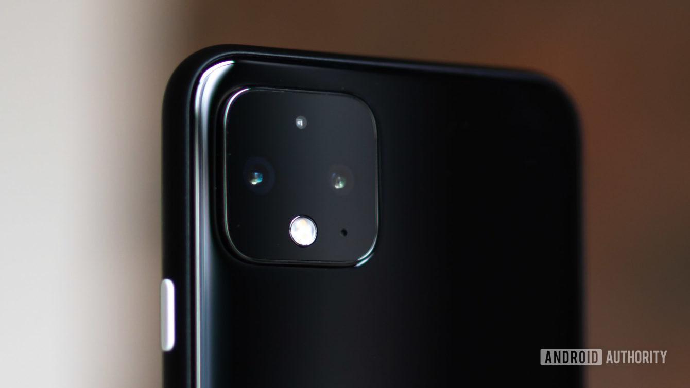 Google Pixel 4 camera closeup in just black