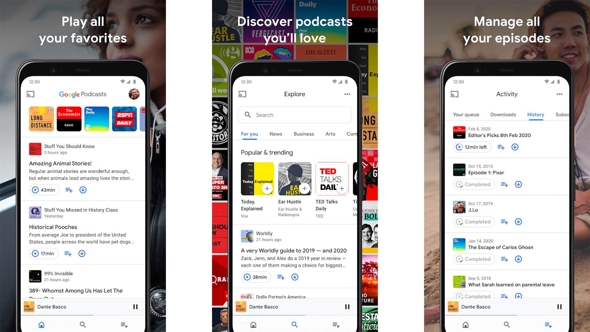 Google Podcasts screenshot 2020