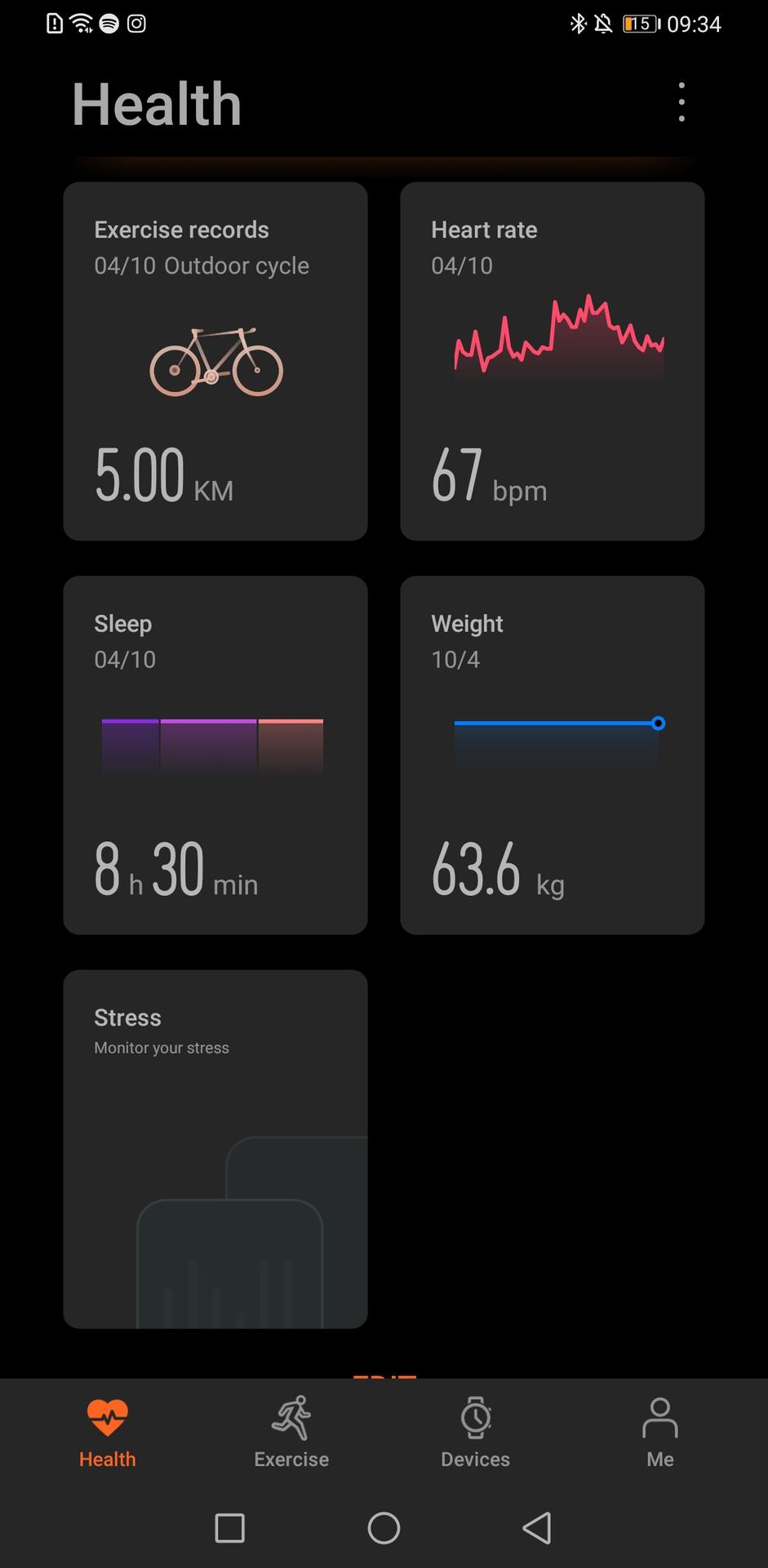 Huawei Health App Health page