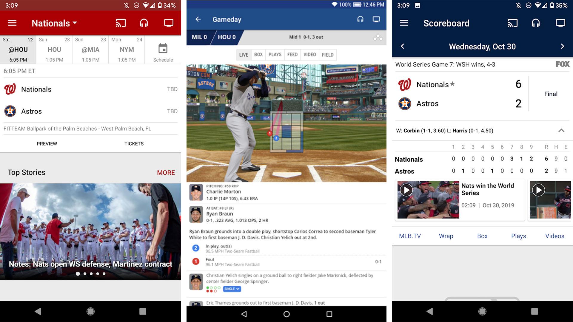 MLB app screenshot 2020