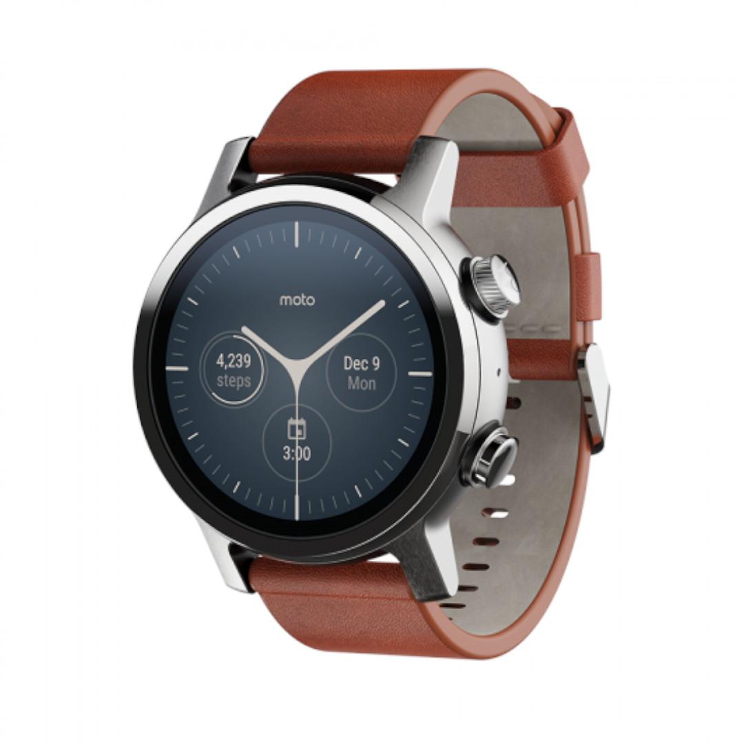 New Moto 360 Steel Grey Leather Watch Strap
