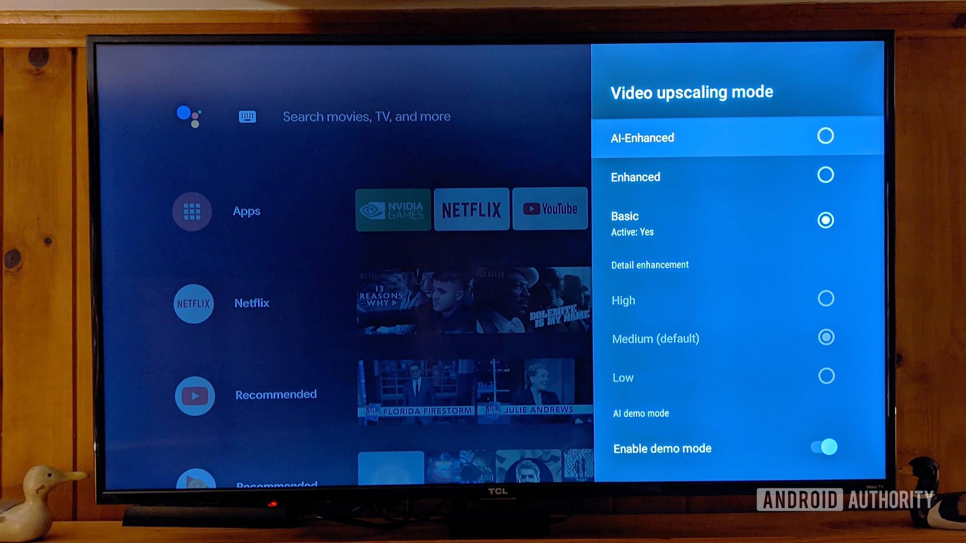 Nvidia Shield TV AI upscaling settings