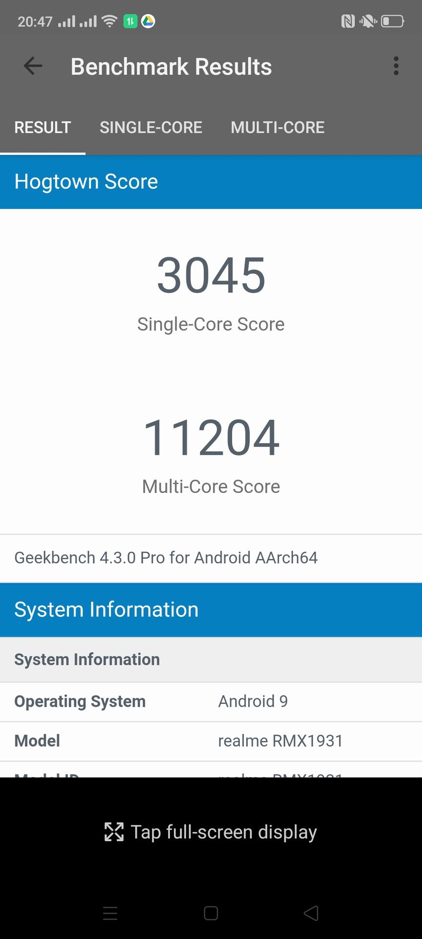 Realme X2 Pro software Geekbench 4