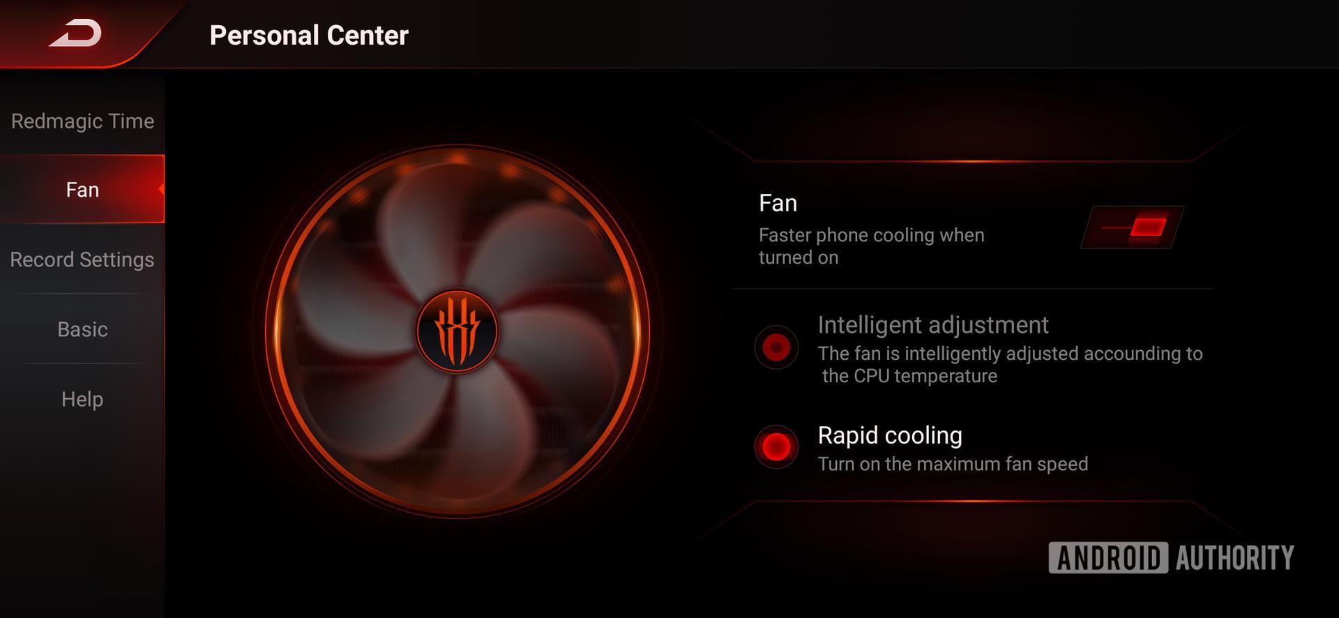 Red Magic 3S fan control screenshot