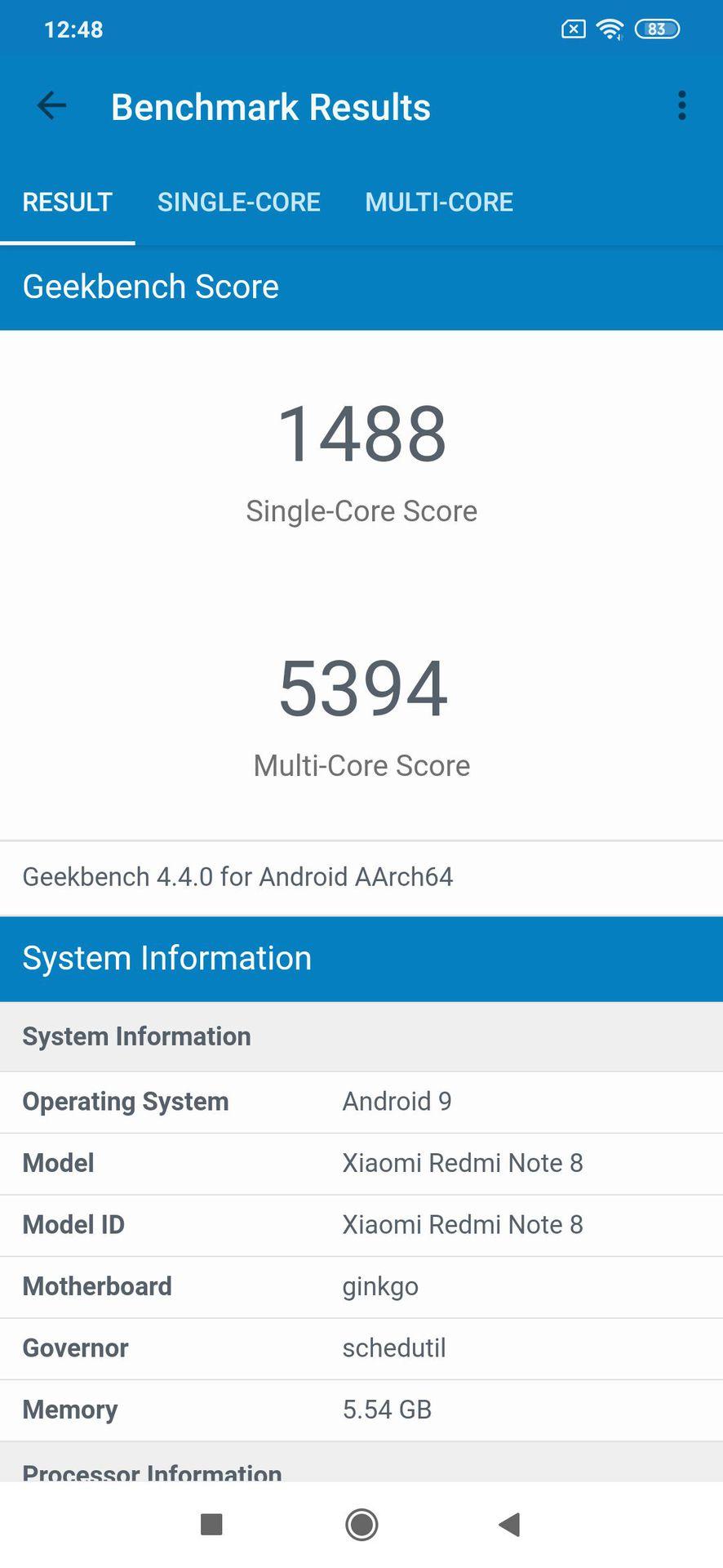 Redmi Note 8 Geekbench 1