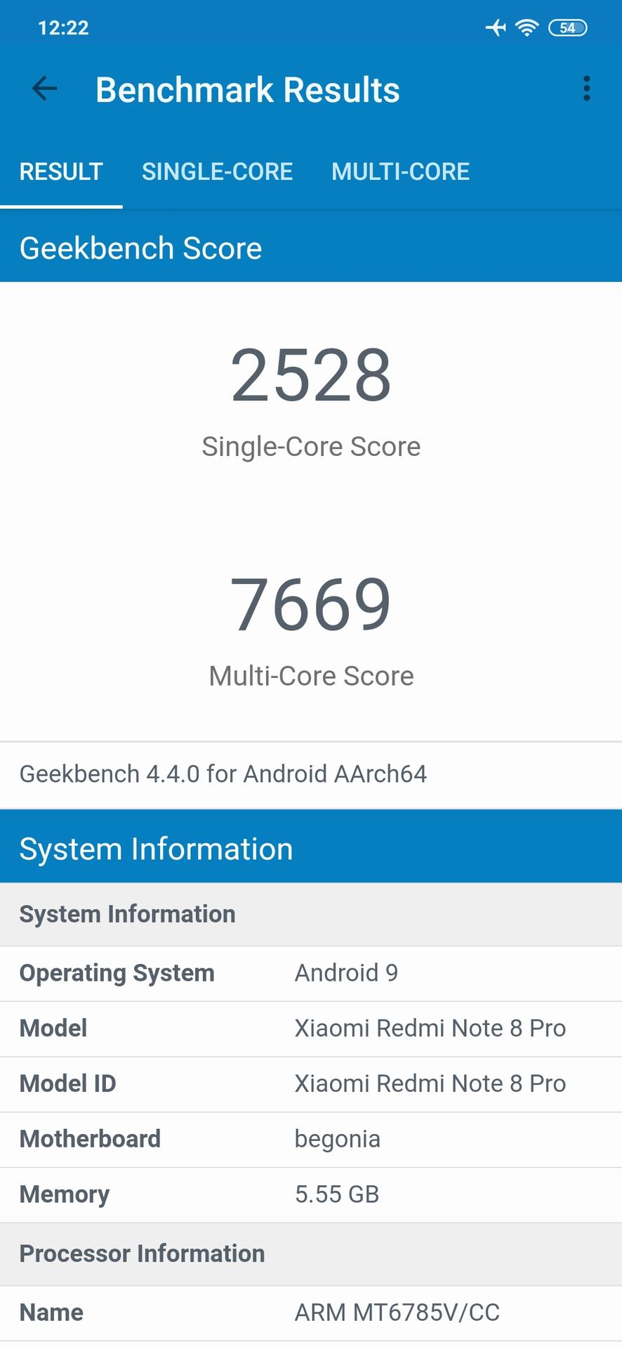 Redmi Note 8 Pro Geekbench 4 results