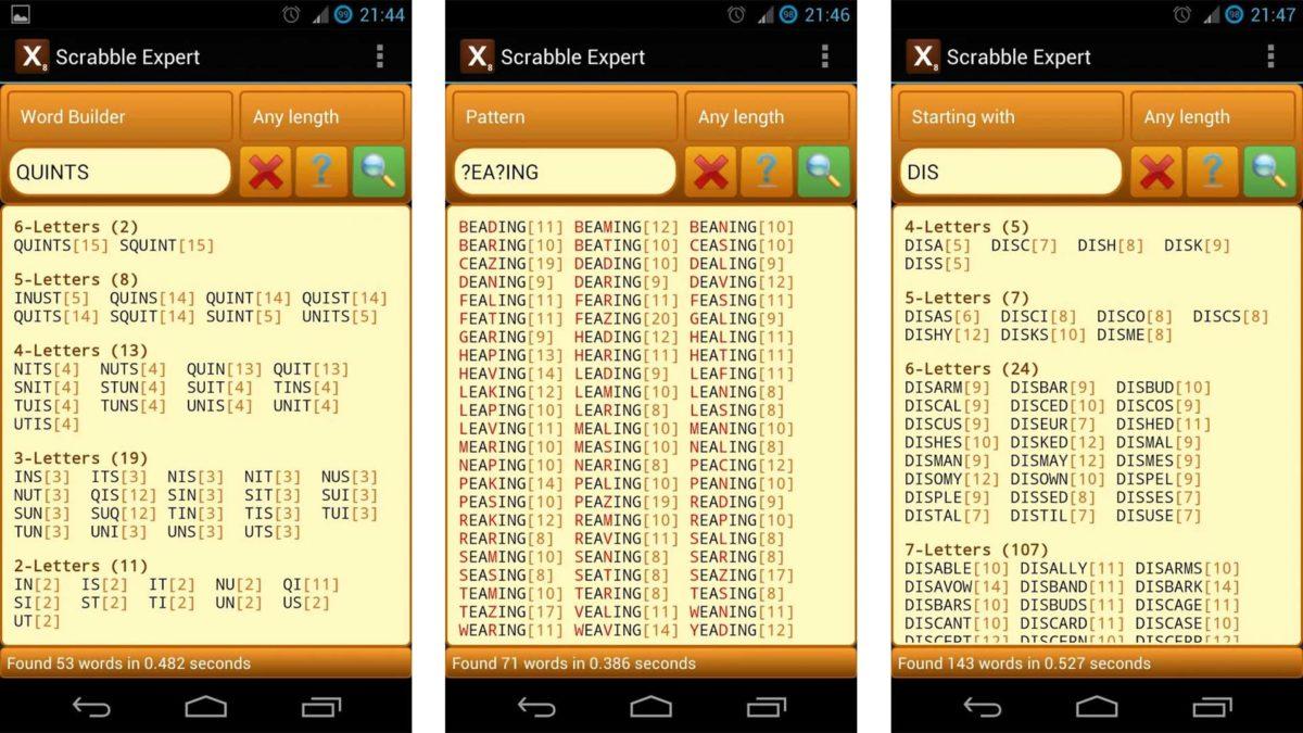 Captura de pantalla de Scrabble Expert para los mejores solucionadores de anagramas