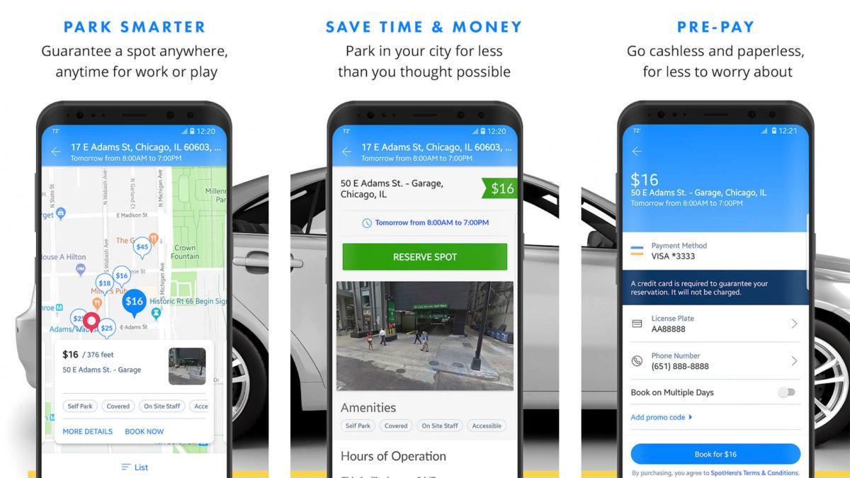 SpotHero screenshot for the best parking apps list