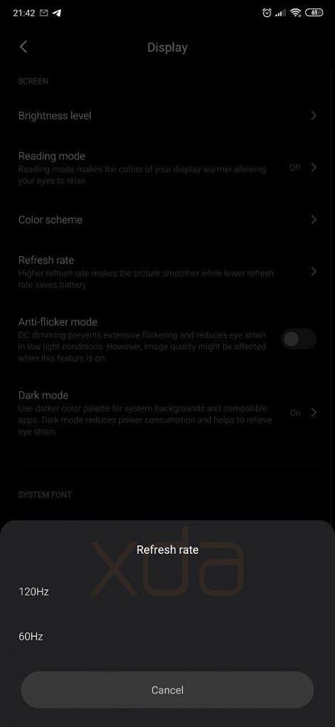 XDA Xiaomi MIUI 11 Refresh Rate Settings 2.jpg
