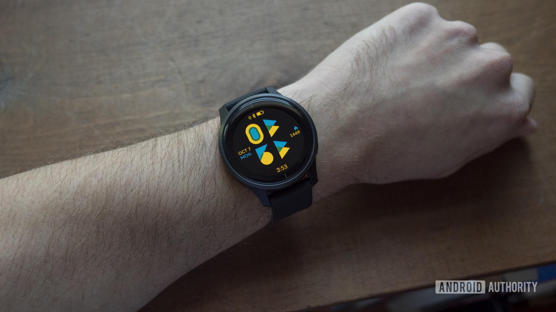 garmin venu review watch face on wrist