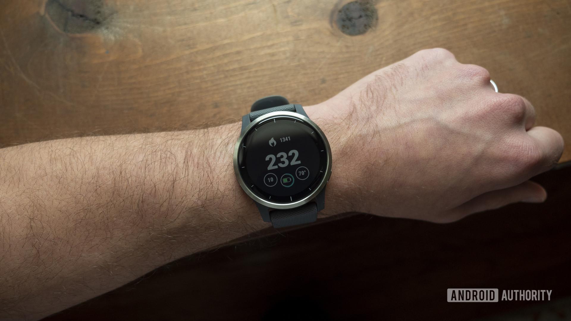 garmin vivoactive 4 review watch face display on wrist