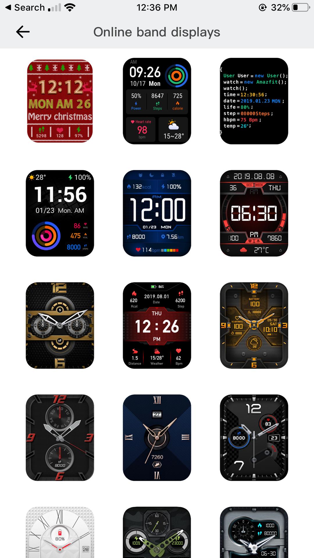 Amazfit GTS Watchfaces displayed on App