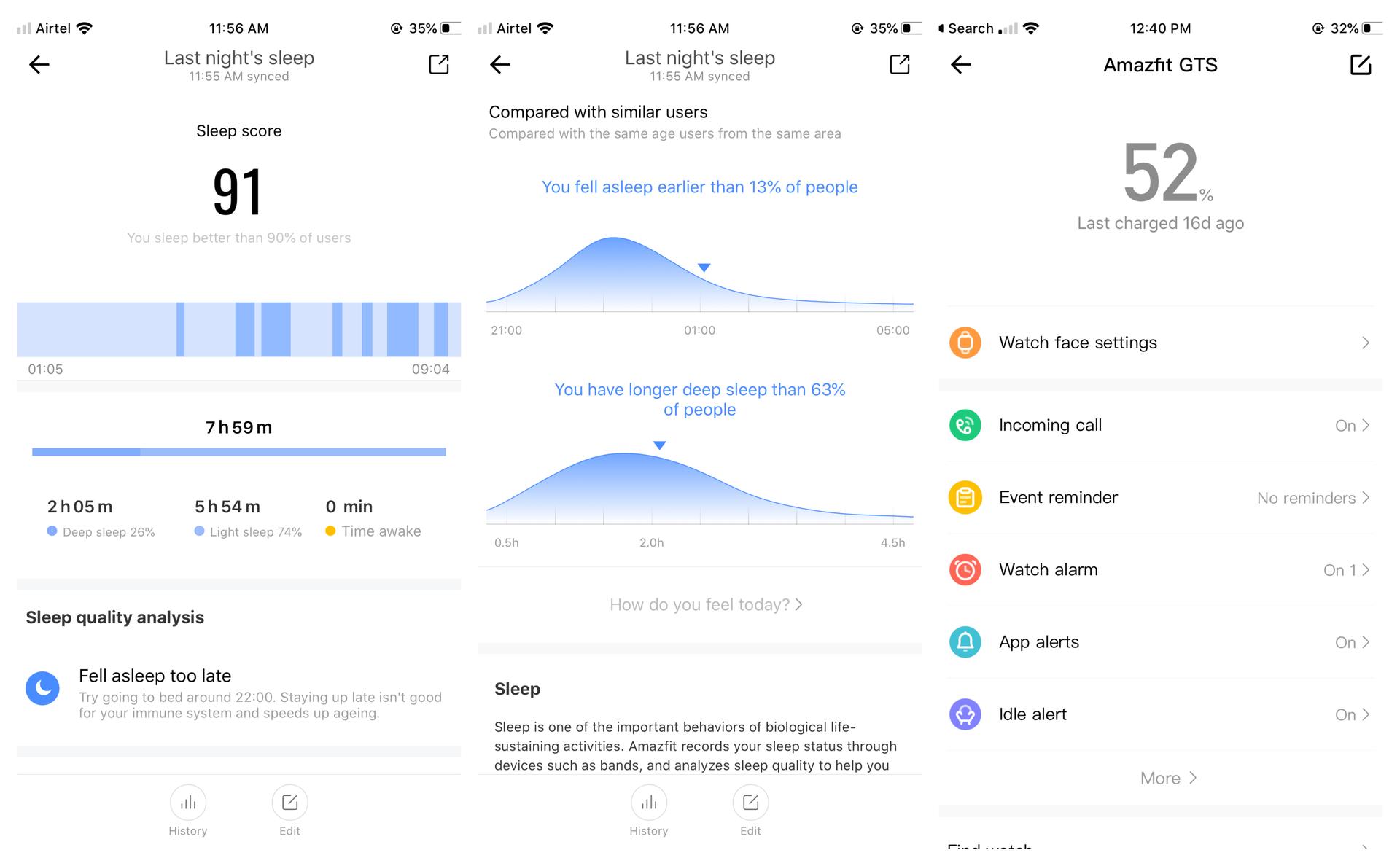 Amazfit GTS sleep tracking and watch settings screen