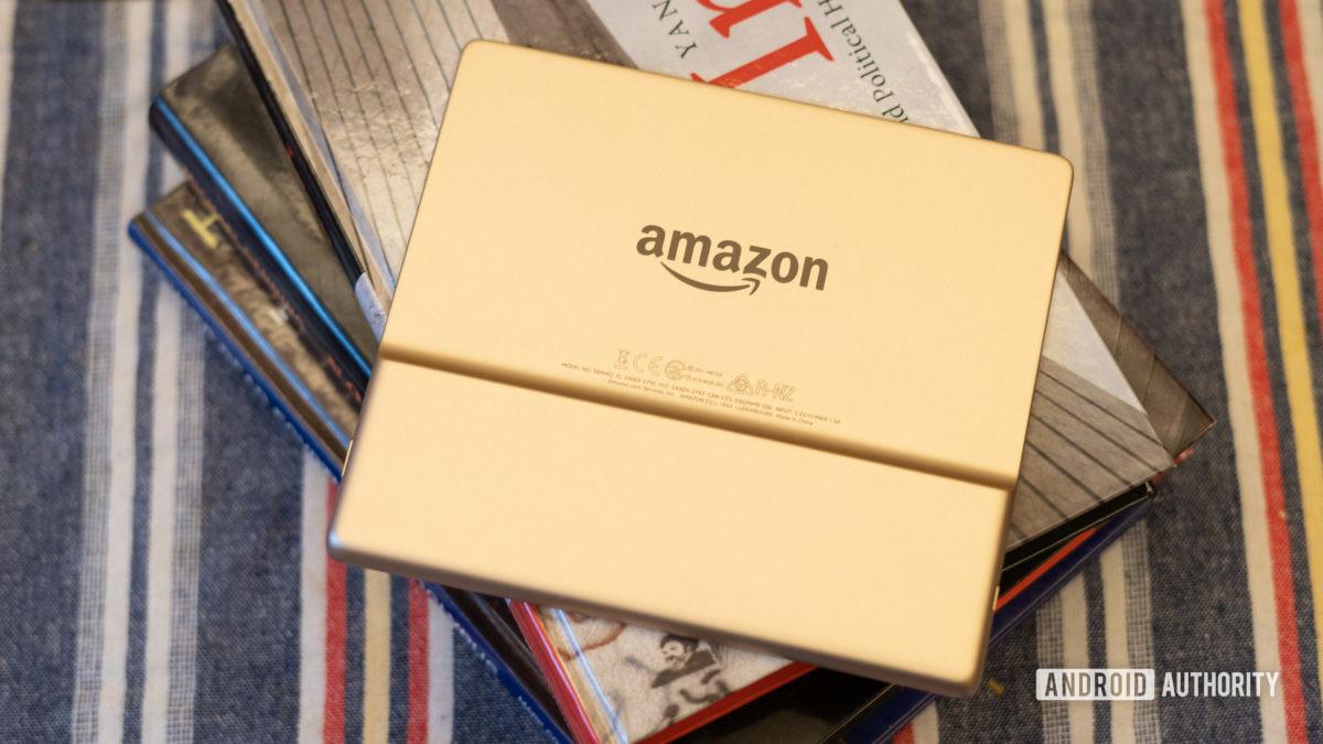 Amazon Kindle Oasis showing rear logo and back panel