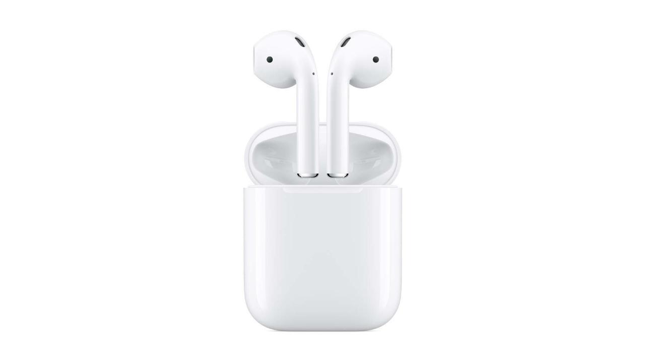 Apple AirPods avec rendu de presse de l'étui de chargement