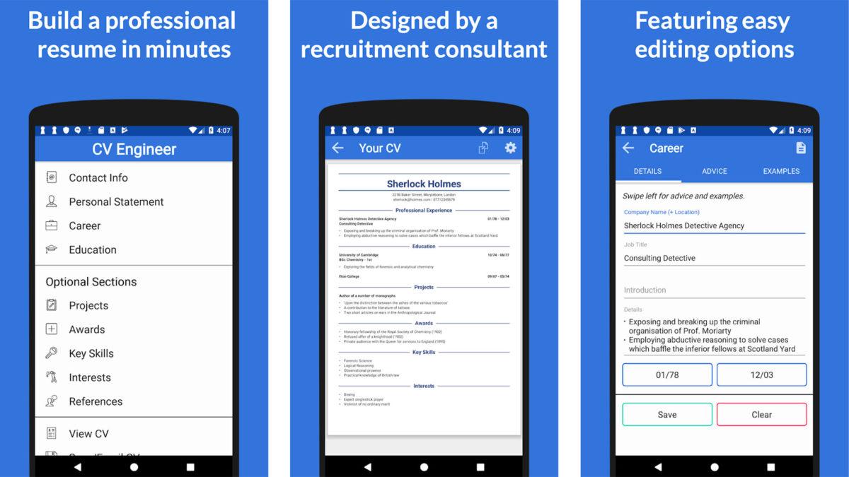 CV Engineer screenshot for the best resume builder apps list