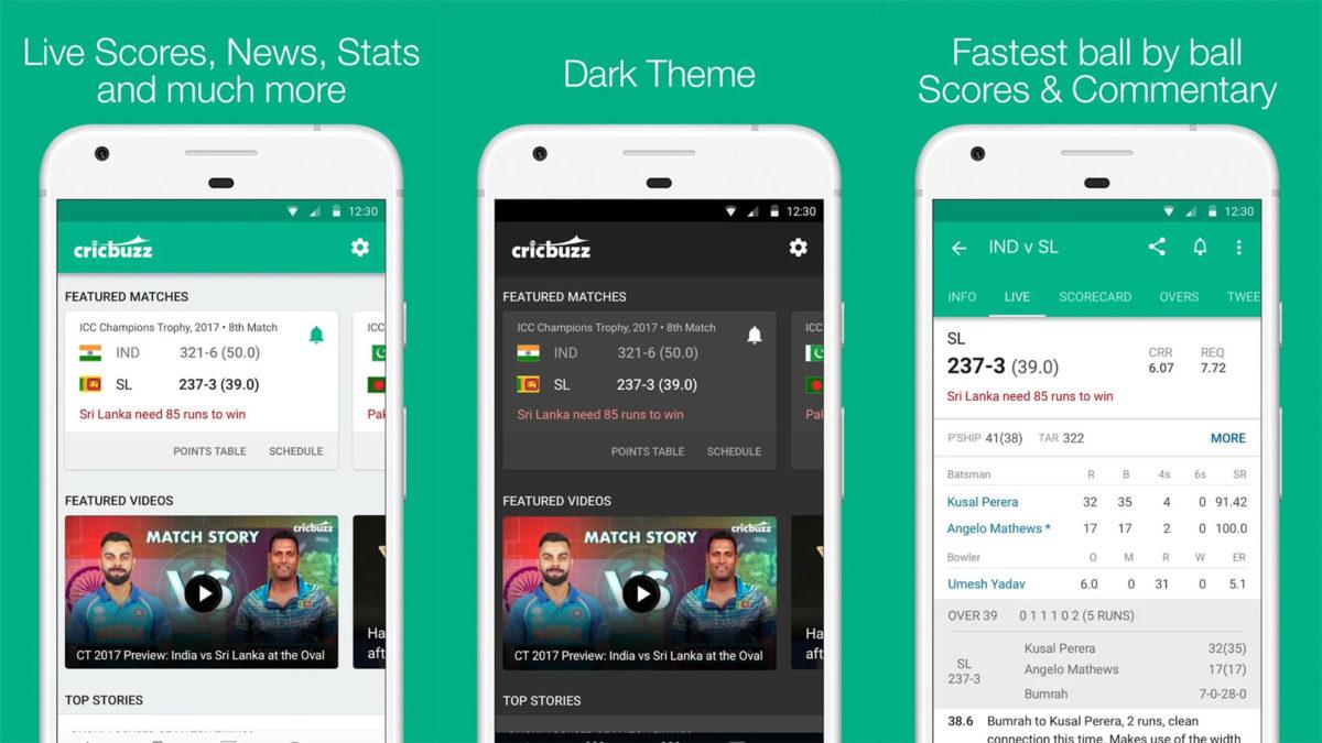 Cricbuzz screenshot for the best cricket score apps list