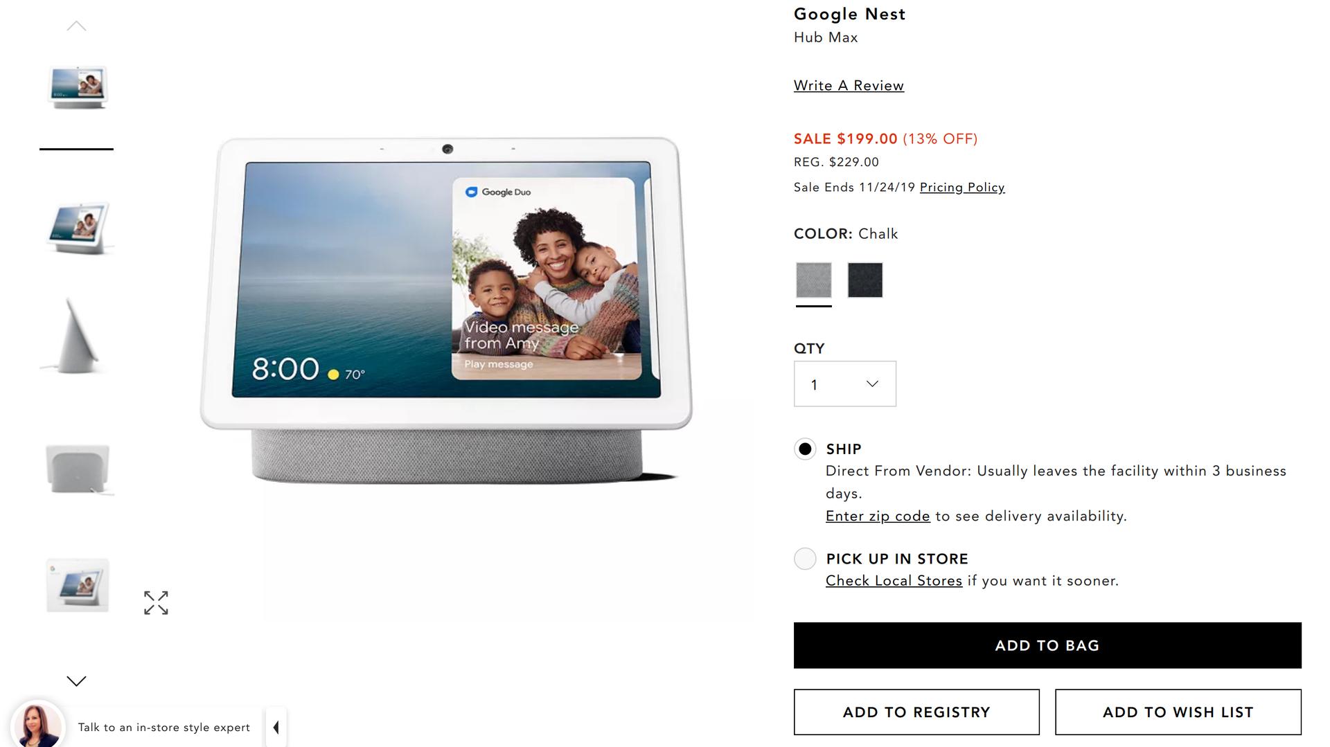 Google Nest Hub Max Bloomingdales deal