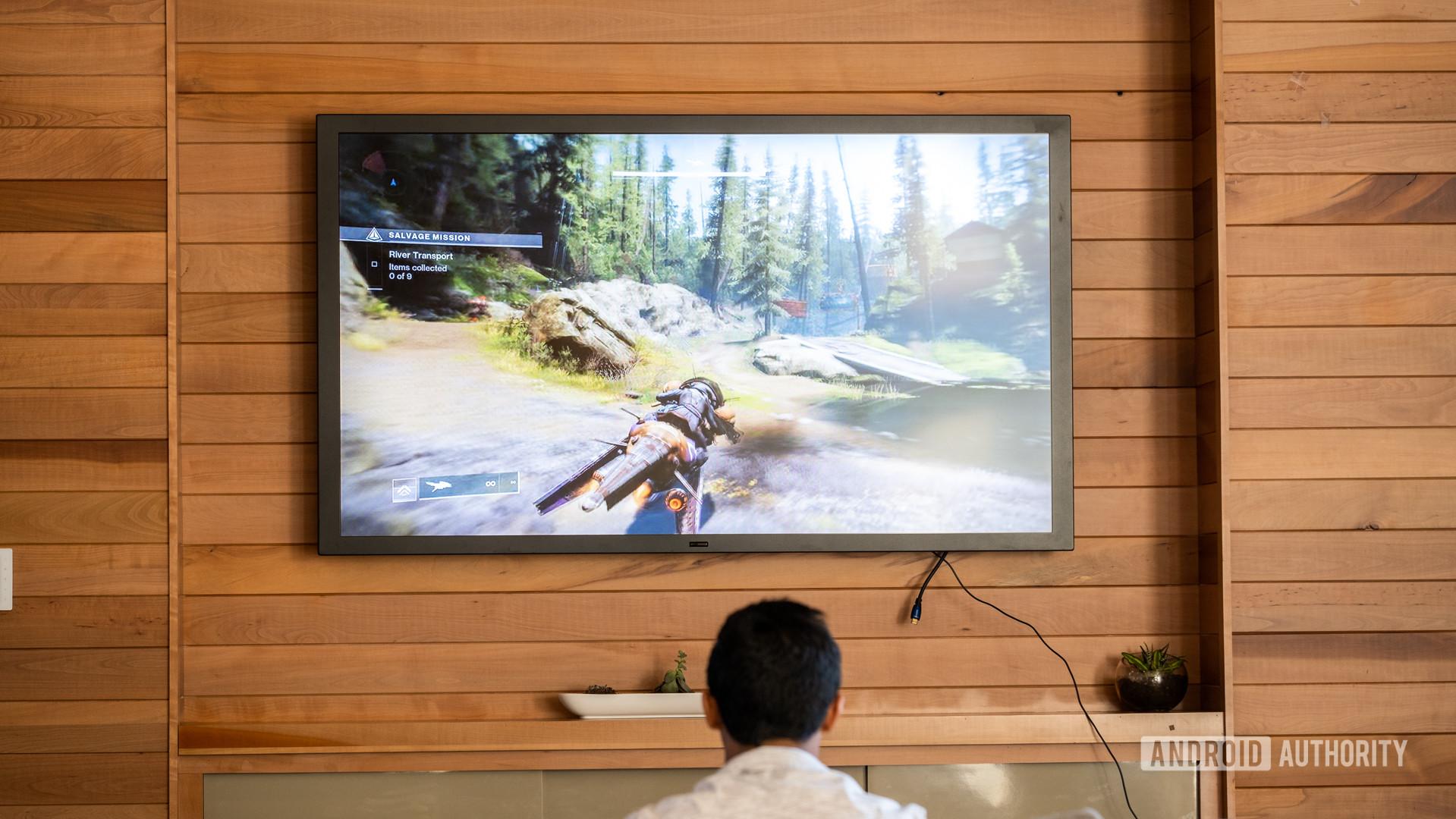 Google Stadia playing on TV