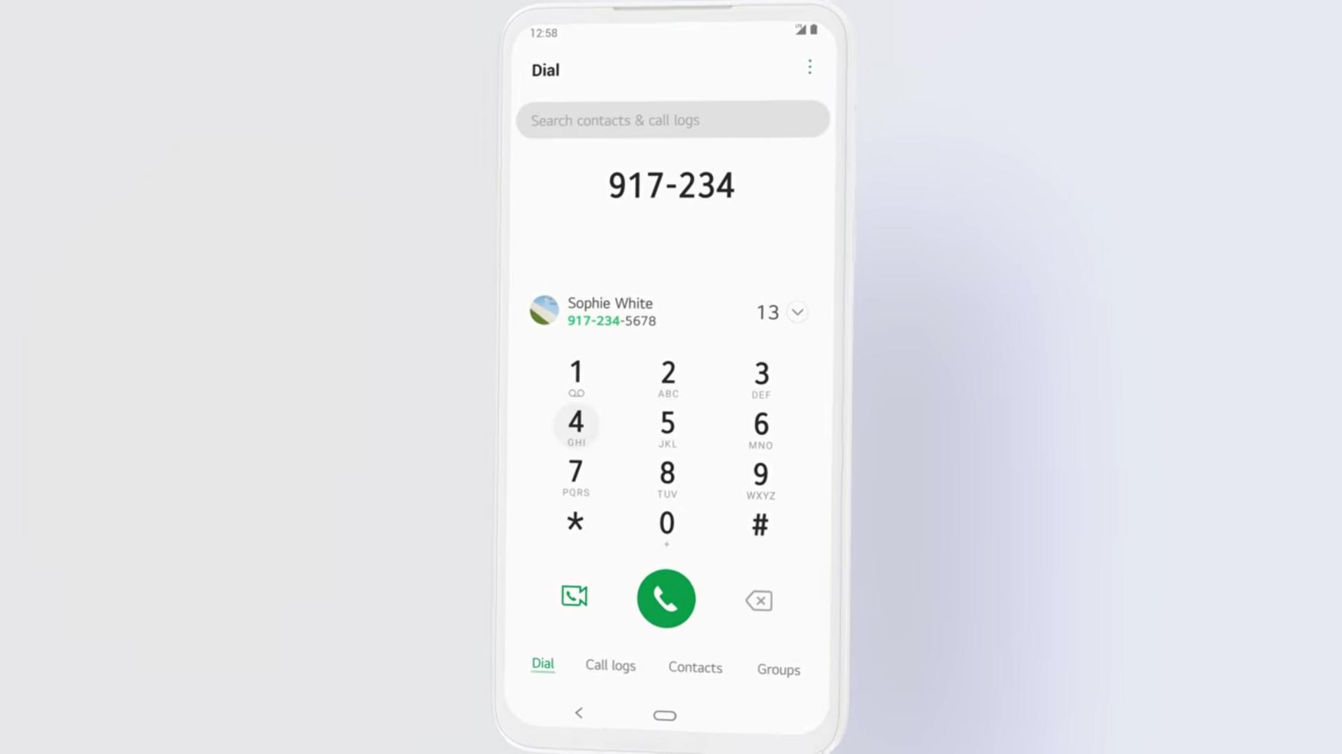 LG UX 9 Dialer app