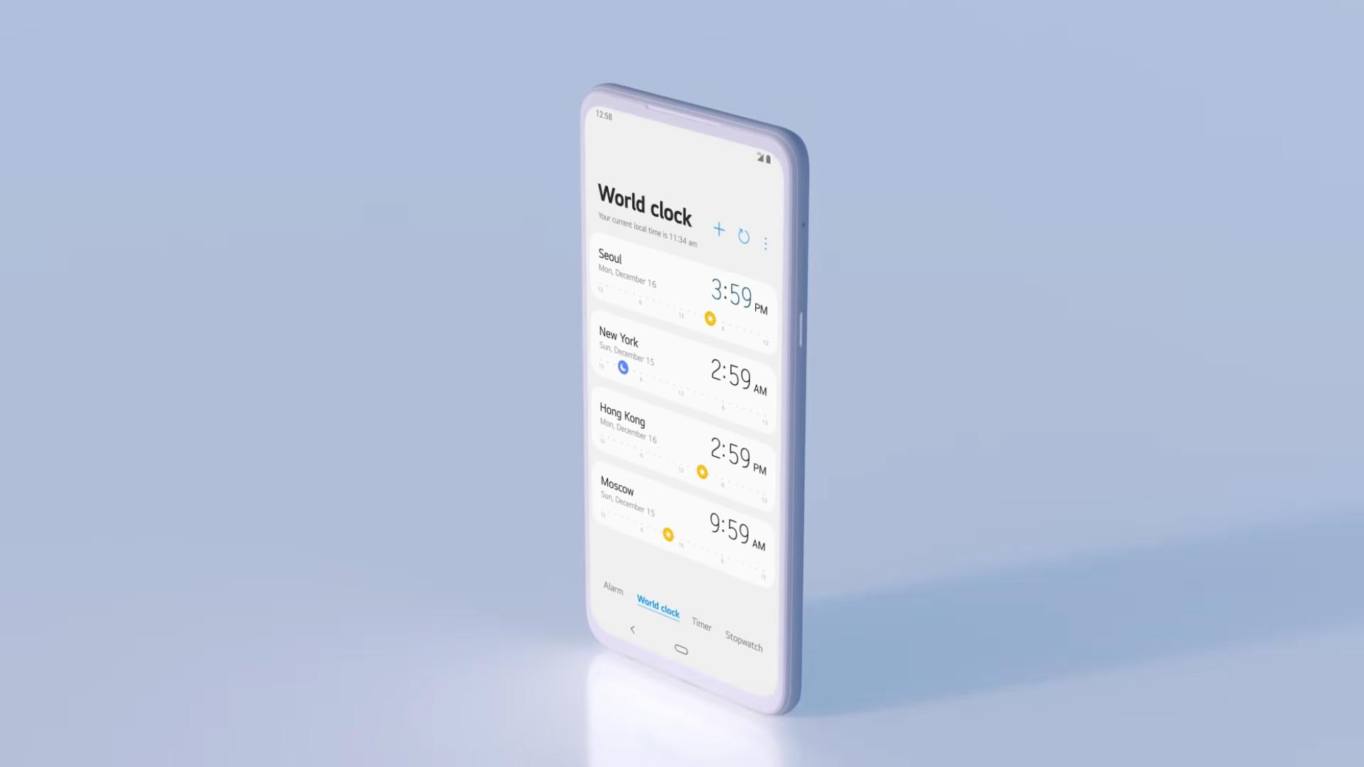 LG UX 9 screenshot of the Clock app