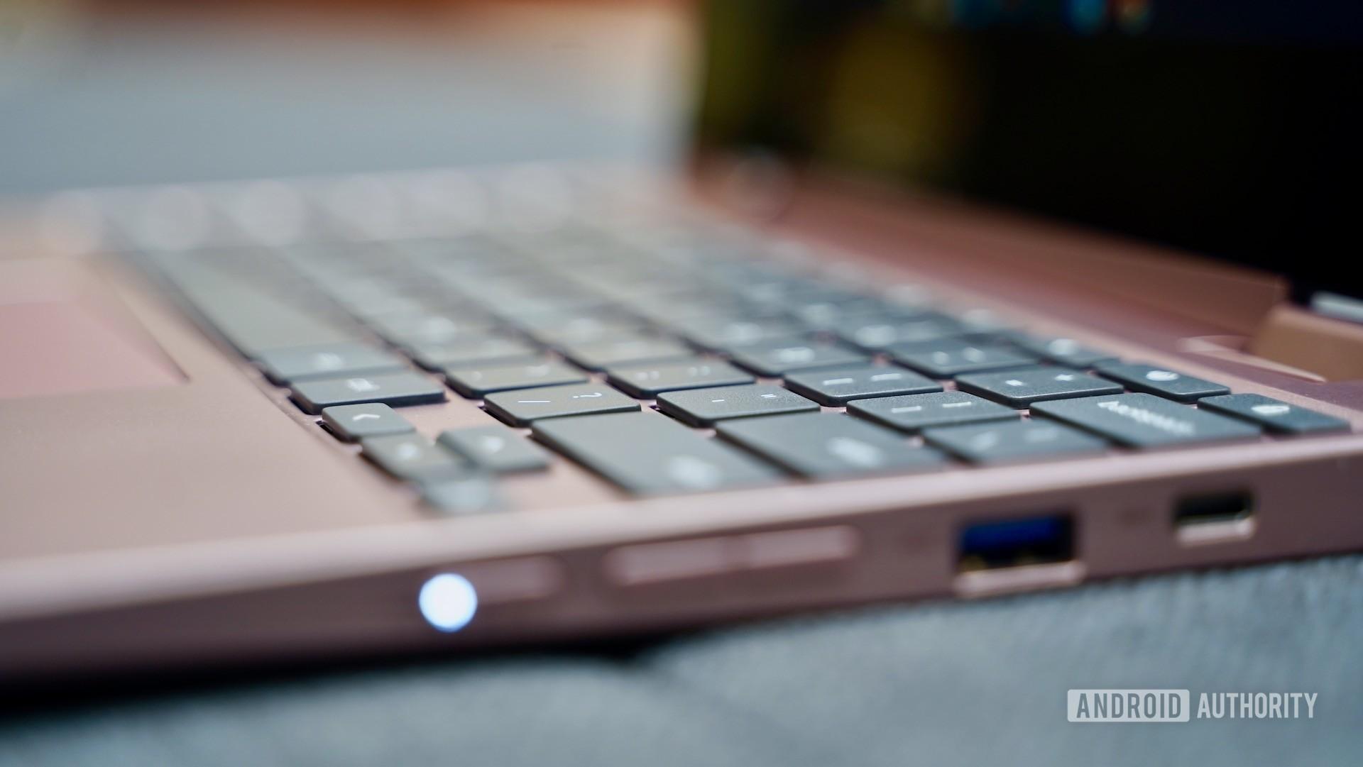 Lenovo Chromebook C340 review angled keyboard closeup