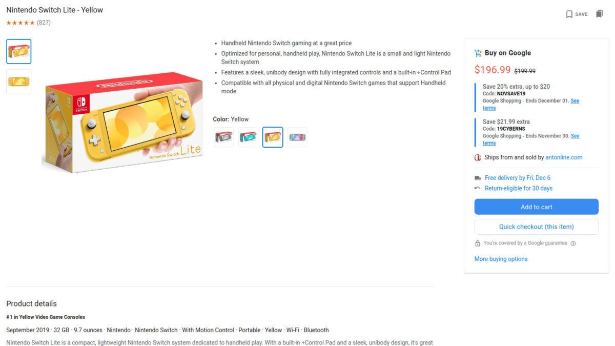Nintendo Switch Lite Google Shopping sale