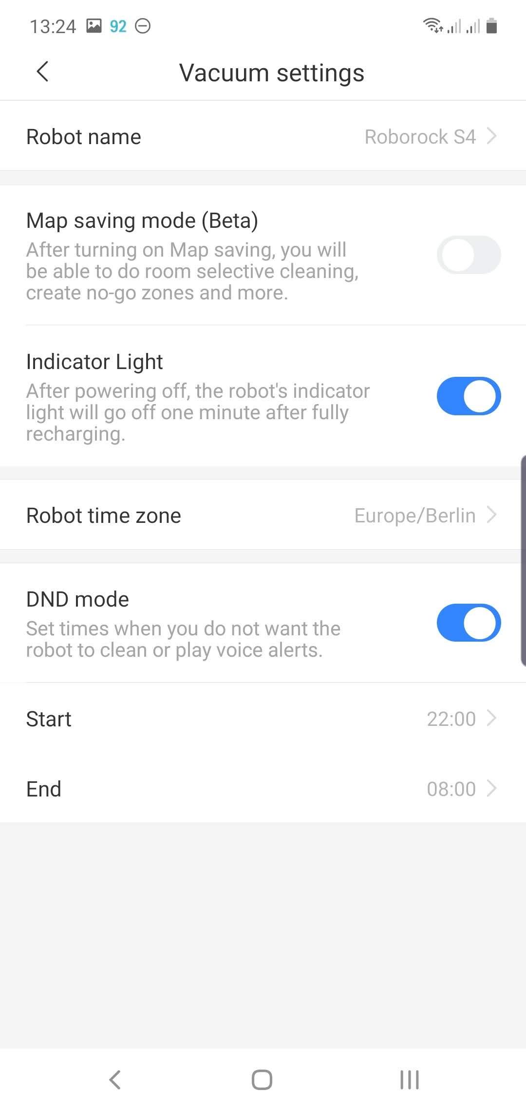 Roborock app robot vacuum settings