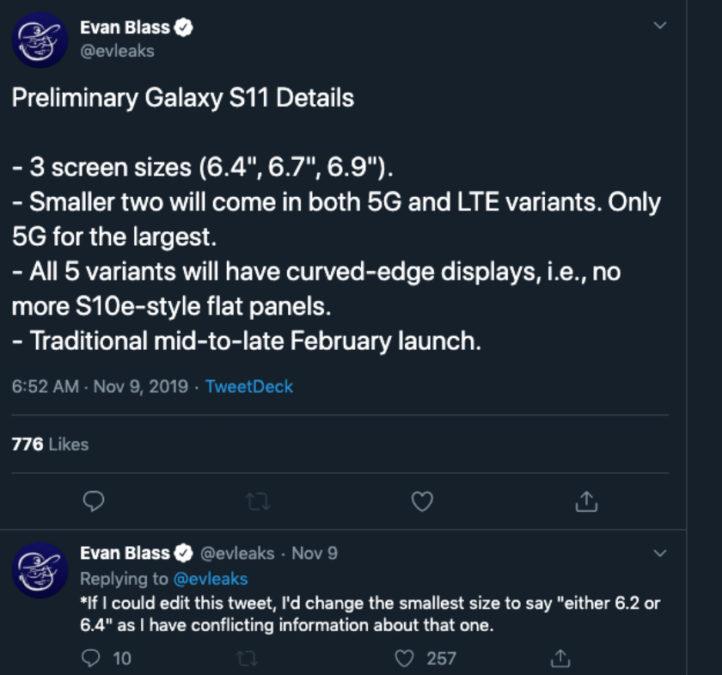 Rumor dimensioni dello schermo per Samsung Galaxy S11 Tweet Evan Blass