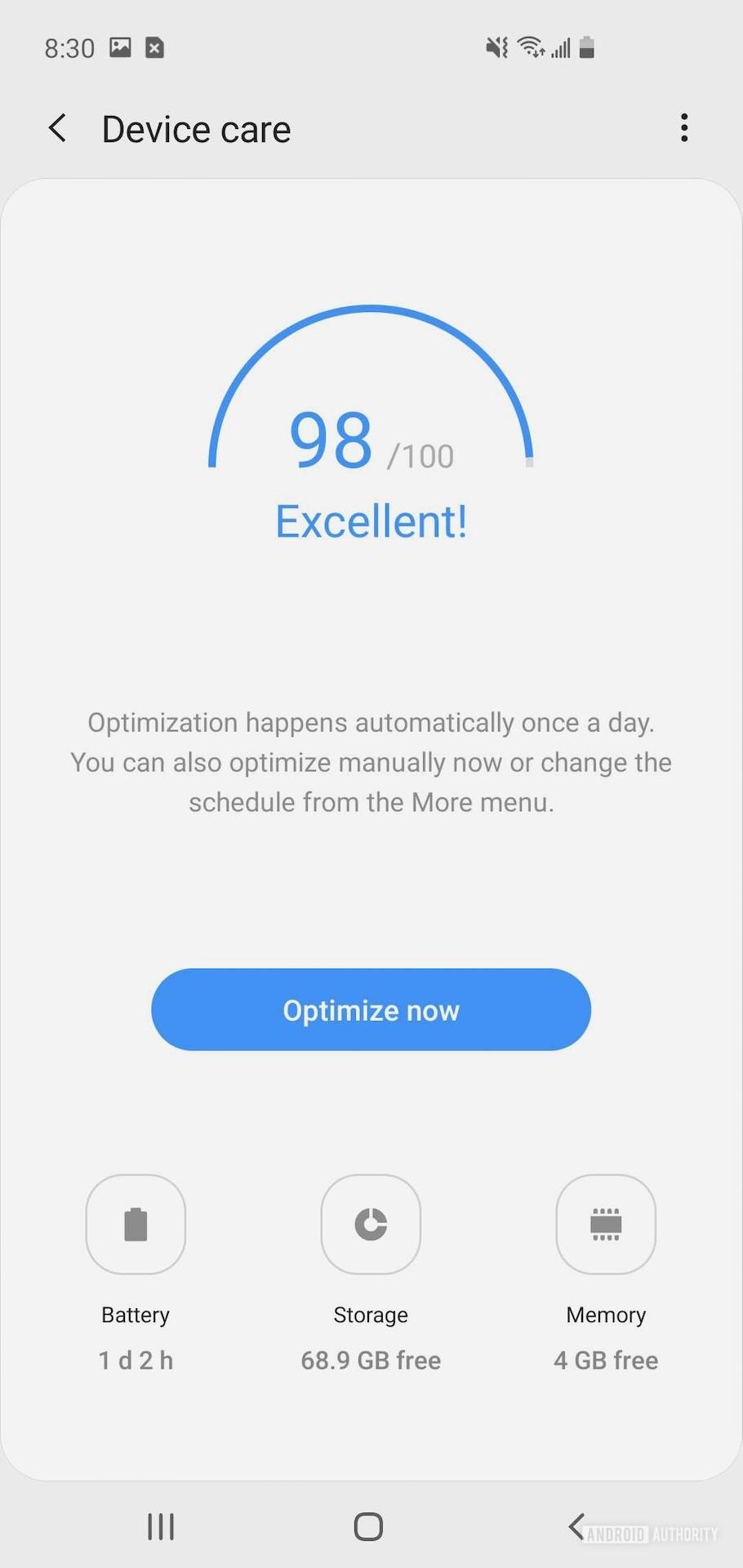 Samsung One UI 1 device care