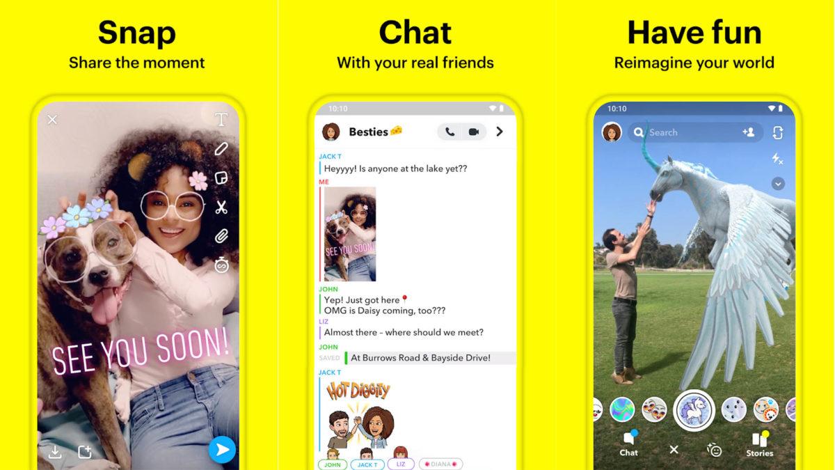 Snapchat 2020'nin ekranında