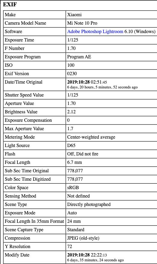Xiaomi Mi Note 10 Pro image sample exif data