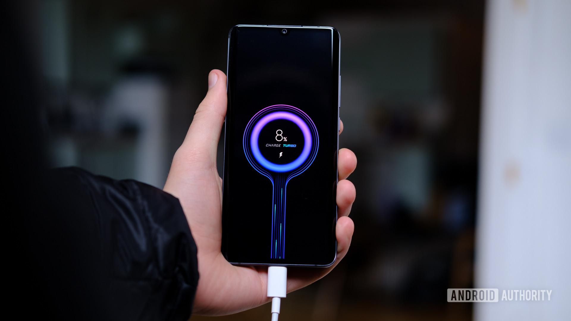 Xiaomi Mi Note 10 fast charging in hand