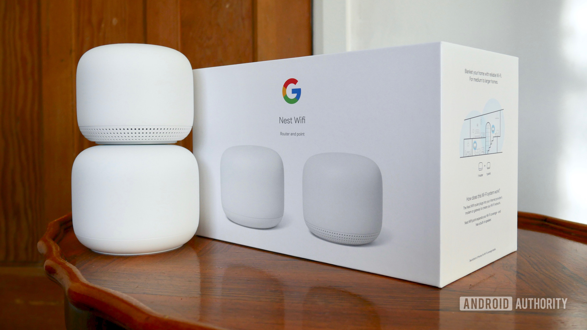google nest wifi review next to box 2