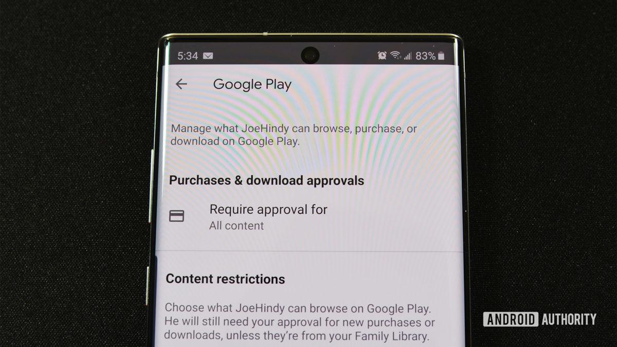 Google Family Link Google Play Controls 1
