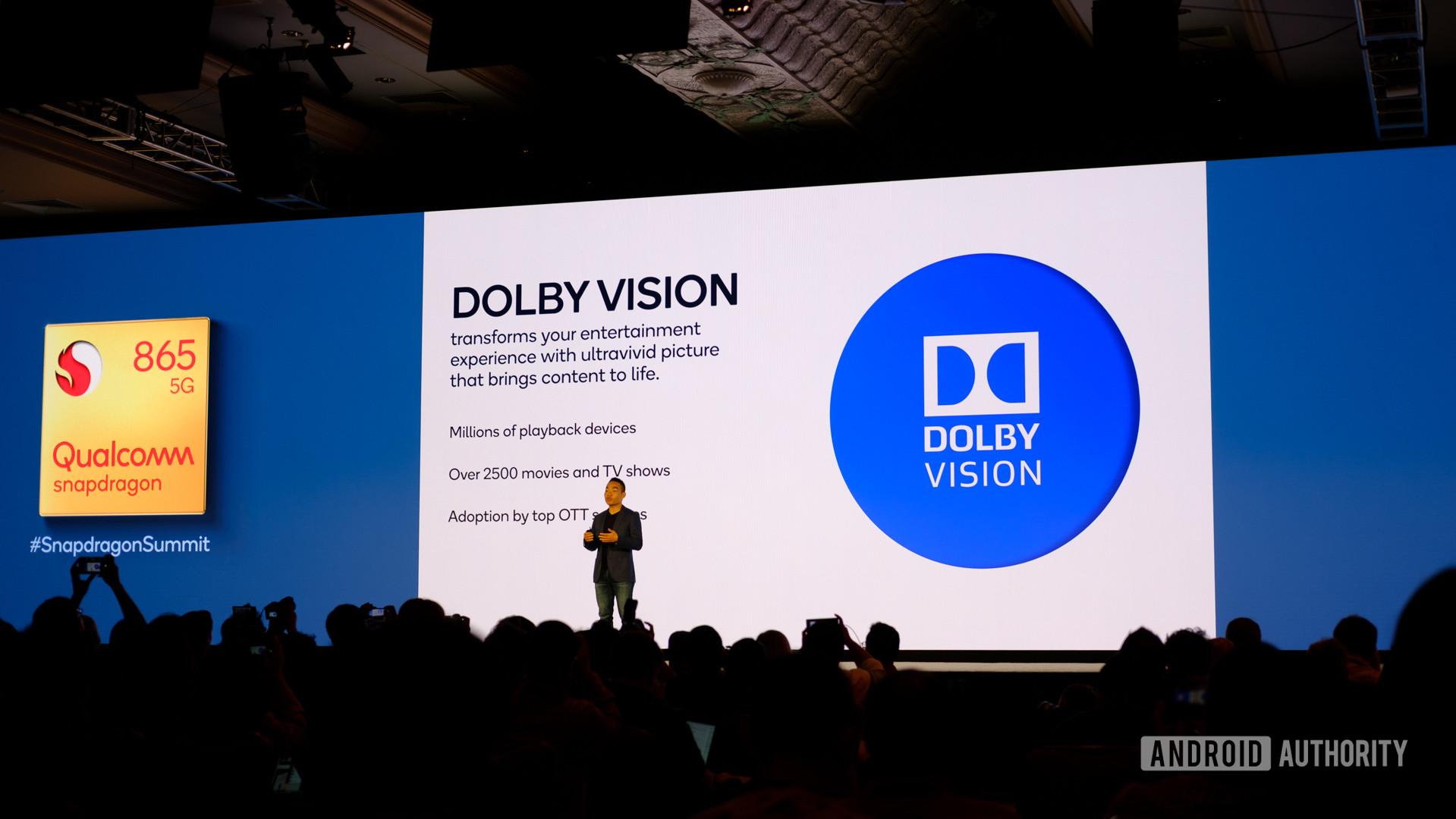 Qualcomm Snapdragon 865 Dolby Vision slides