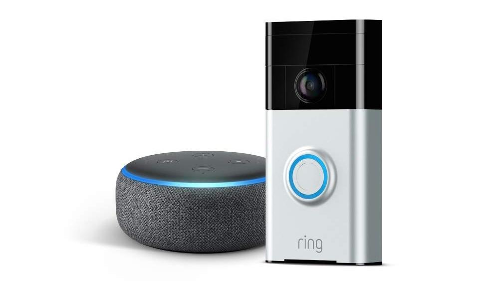 Ring Video Doorbell and Amazon Echo Dot press render 1