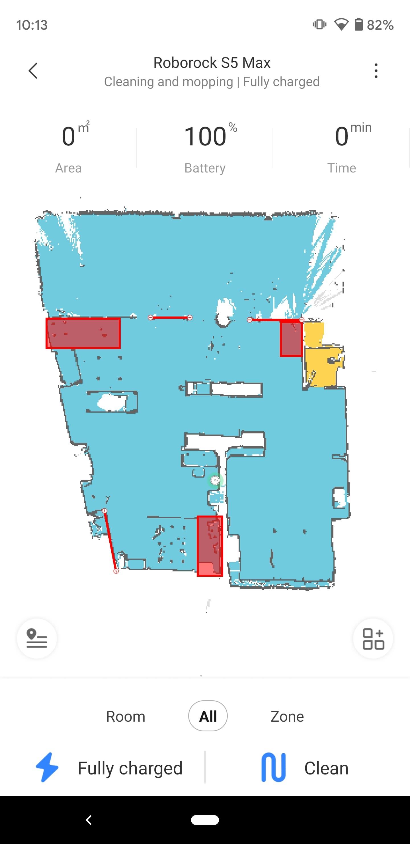Roborock S5 Max Mi Home app map