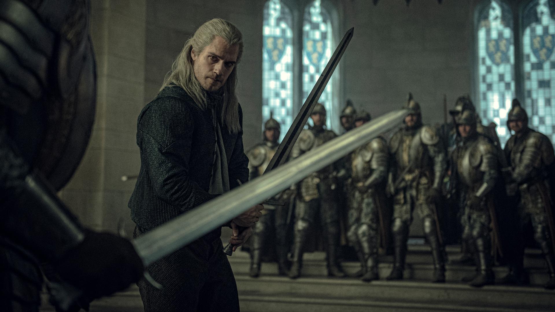 Geralt of Rivia Sword Fight production still