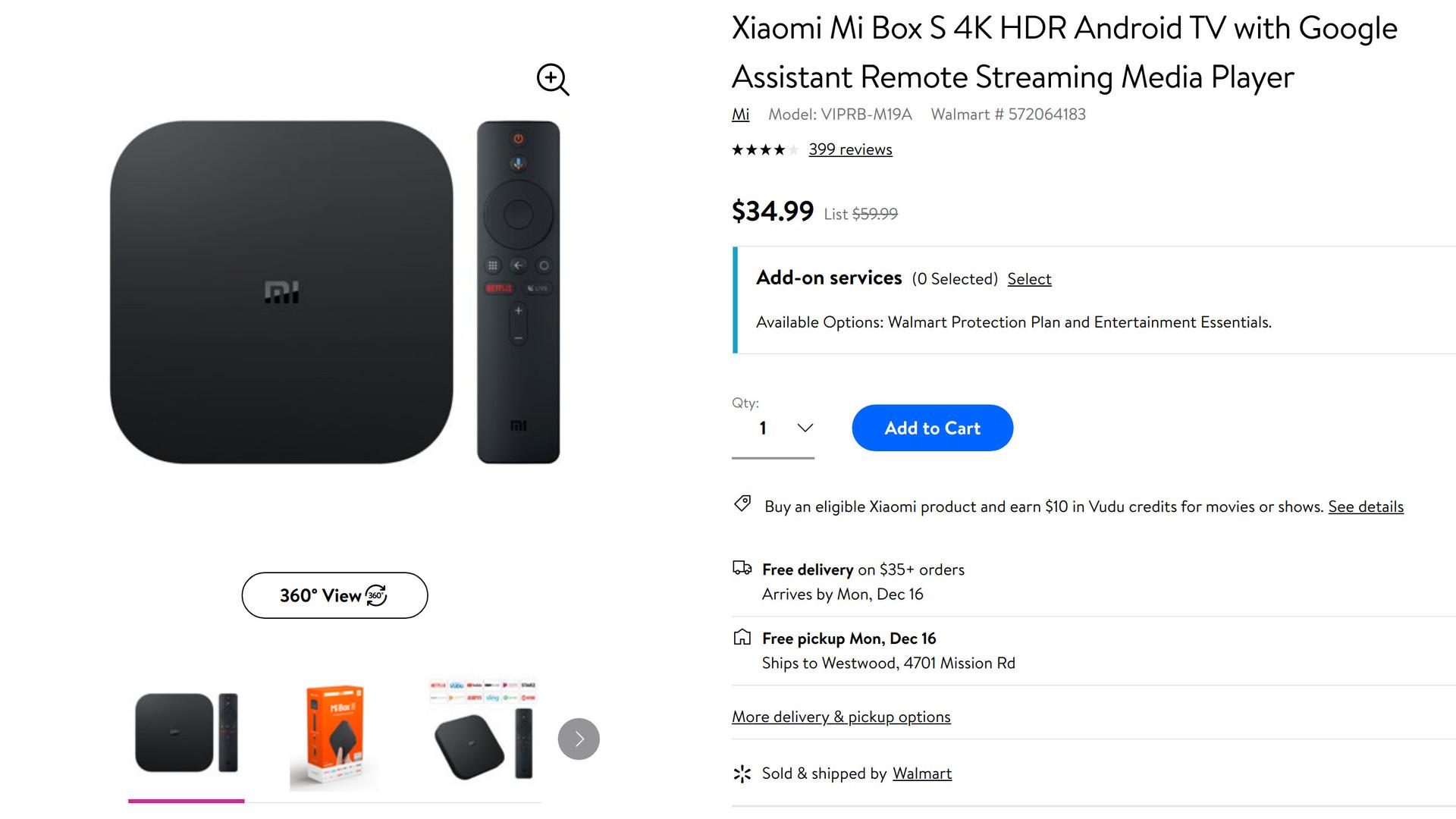 Xiaomi Mi Box S Walmart sale