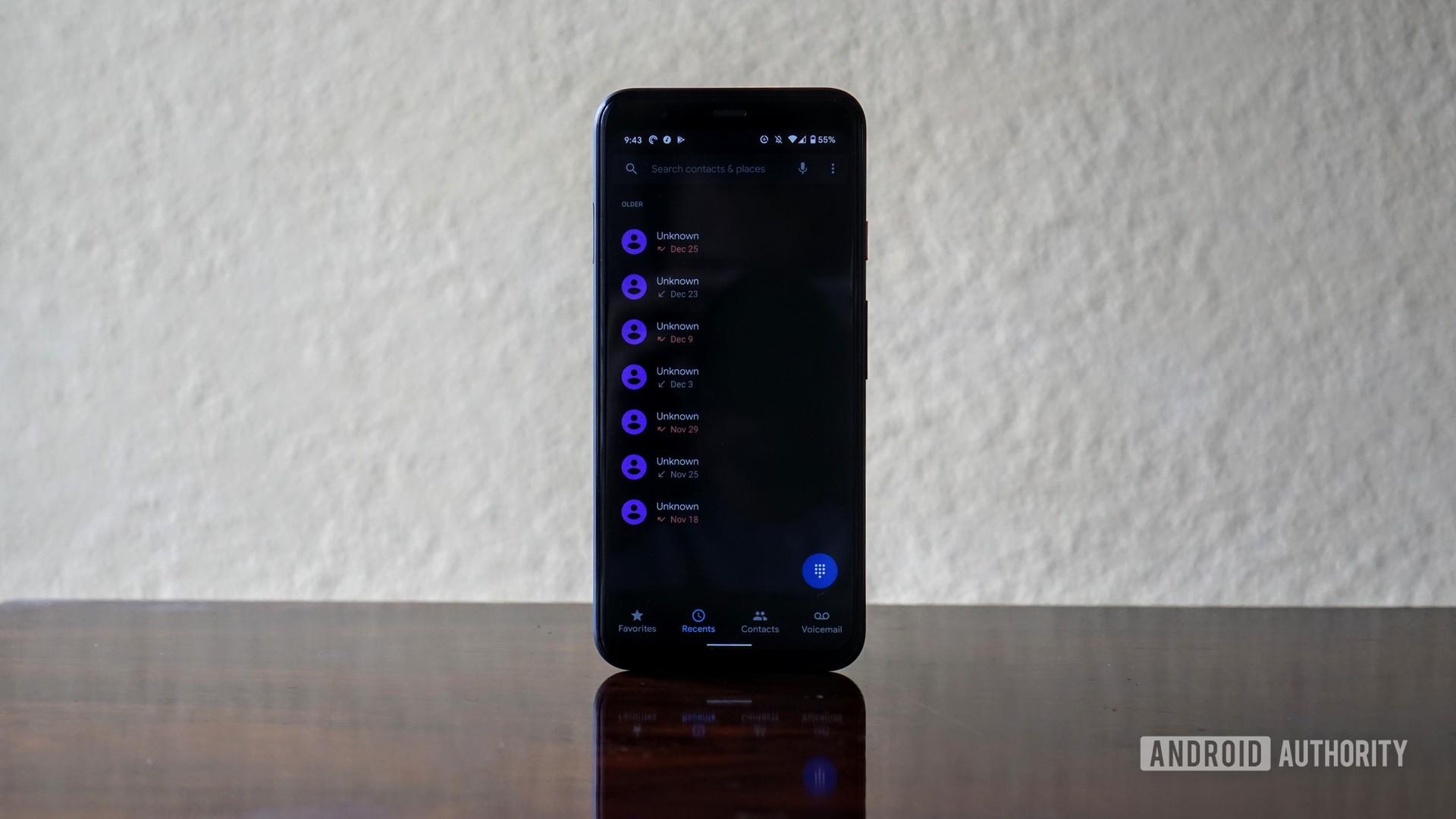 Google Phone app on Pixel 4